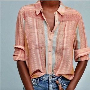 Anthropologie Maeve peach Calipatria Stripe Shirt